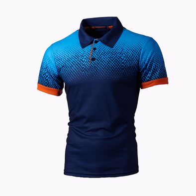 Spring And Autumn Foreign Trade Men's Gradient 3D Printing Polo T-shirt