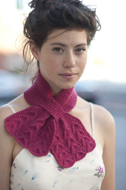 hand knit pink ascot