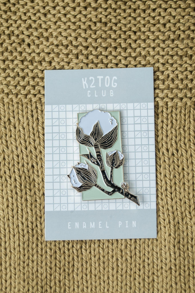 k2tog club cotton enamel pin