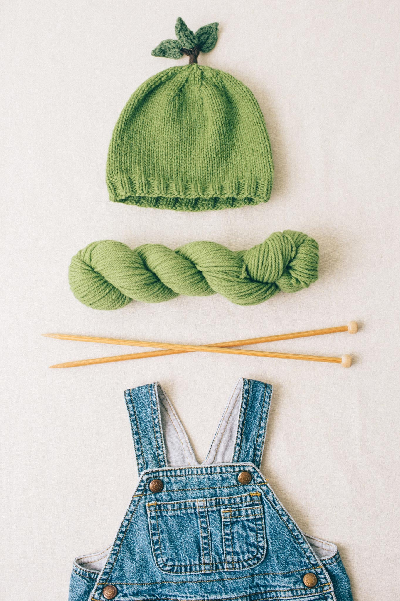 leaf-top baby hat knitting pattern - Quince and Co