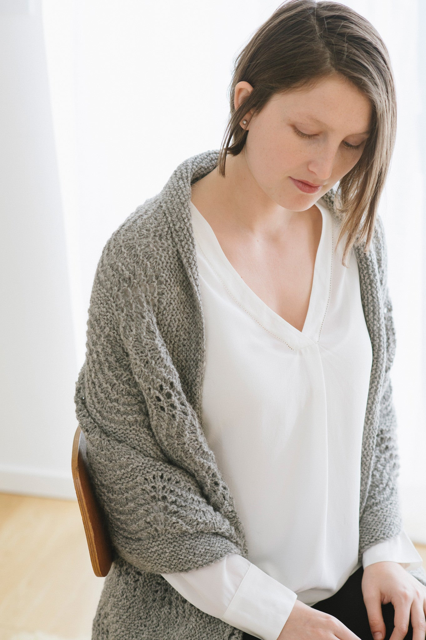 waves in lace wrap knitting pattern - Quince and Co