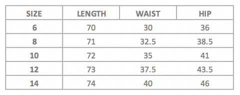 neri skirt measurements