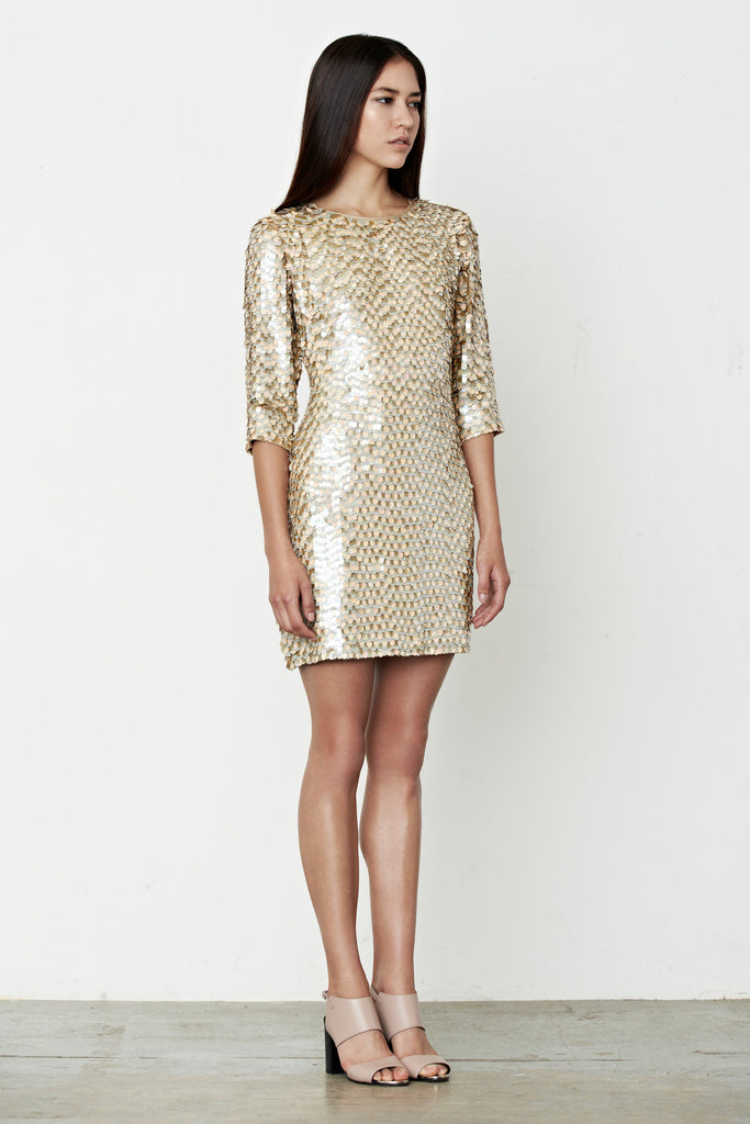 MANÉ | Maia Dress - Loosely tailored crepe mini dress - Hand embroidered with shimmering neutral tones - Sequinned - Embellished - Elegant - Understated - Mane Virdee