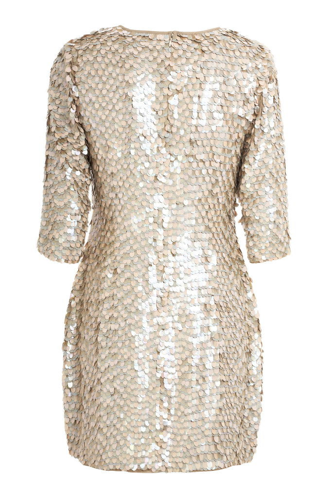 MANÉ | Maia Dress - Loosely tailored crepe mini dress - Hand embroidered with shimmering neutral tones - Sequinned - Embellished - Elegant - Understated - Back - Mane Virdee