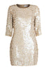 MANÉ | Maia Dress - Loosely tailored crepe mini dress - Hand embroidered with shimmering neutral tones - Sequinned - Embellished - Elegant - Understated - Front - Mane Virdee