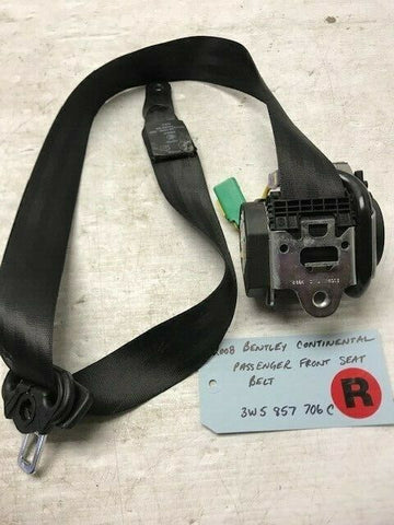 06 07 08 BENTLEY CONTINENTAL FLYING SPUR PASS RIGHT SEATBELT BLACK 3W5857706C