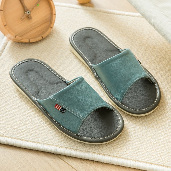 Women's Summer Genuine Leather Indoor Slippers Anti-Slip Super Soft Couples' Home Shoes Comfortable Cow Leather Casual Slippers
