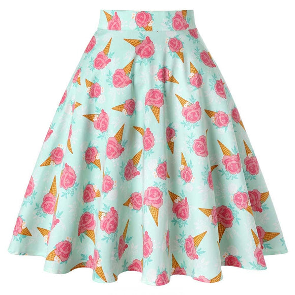 50s Vintage Woman Retro Bouquet Floral Print High Waist Midi Skirts Knee-Length Long Saia Feminina Ladies Rockabilly Swing Skirt