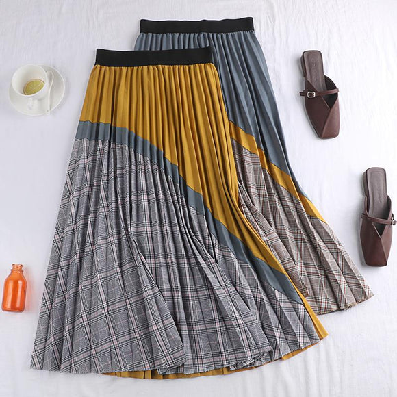 2020 Autumn & Winter New Arrival Mid Length Plaid Skirt Vintage Women's Pleated Skirt Korean Version Skirt Free Shipping