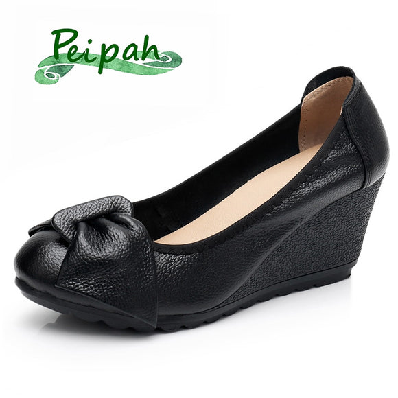 PEIPAH Wedges Platform Shoes Woman Genuine Leather Women's High Heels Shallow Mary Jane Female Shoes Casual Slip-On Heel Pumps