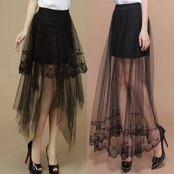 Women's Skirts Sexy Lace 2020 New Summer Women Fashion Long Section Skirt For Women Jupe Tulle Short Skirt Skirts Women Femme