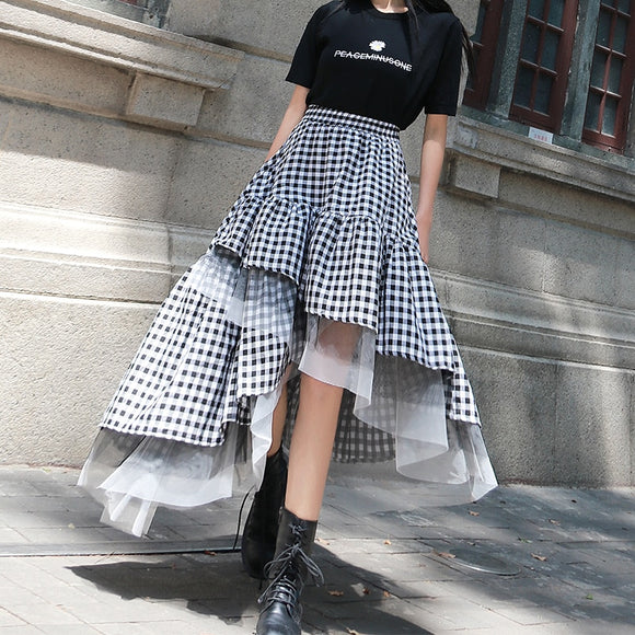 LANMREM 2020 women's black and white plaid patchwork mesh skirt medium and long irregular gauze skirt dishevelled skirt YJ469