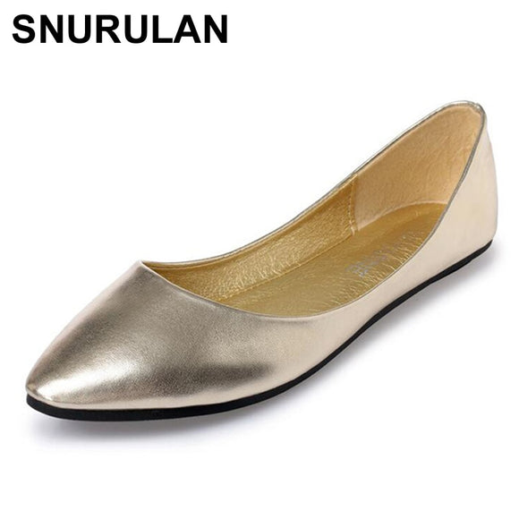 SNURULANNewSring Summer Casual Shoes Women Flats PointedToe Women's Shoes Moccasins Ballet Flats Flat Shoes BallerinaLoafersE068