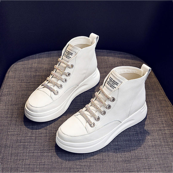 Women Platform Sneakers White High Top Vulcanize Shoes Leather Chunky Casual Shoe Fashion Autumn Leisure Flats Women's Sneaker 9