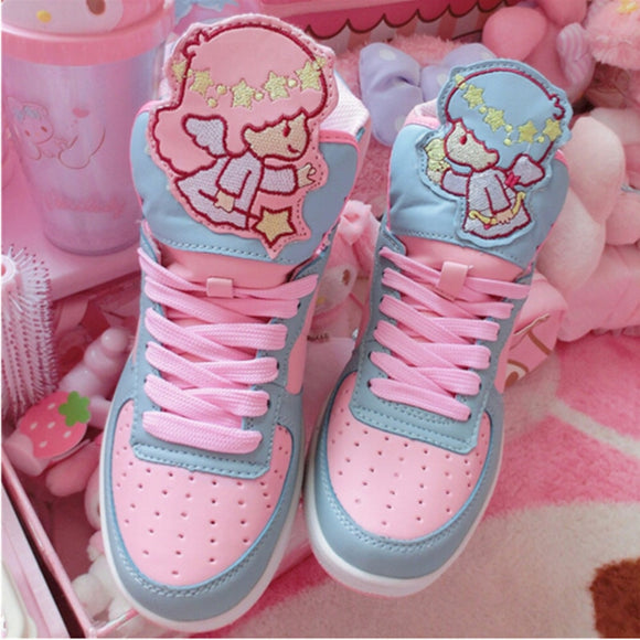 Anime Harajuku Cute Lolita Women's Little Twin Star High Top Shoes Casual Cartoon