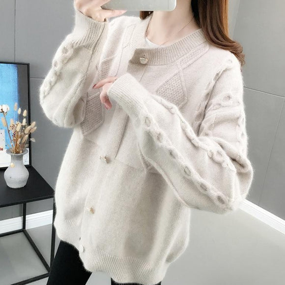 Women's Knitted Cardigans Fall Winter Sweaters O-neck Single Breasted Sweaters Casual Knitwear Girls Red outerwear Sweaters