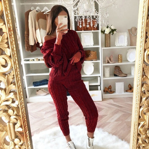women Fashion 2 Pieces New Women's Casual Solid Color Knit Sweater Suit Ladies Soft Long Sleeve Pullover and Elastic Harem Pants