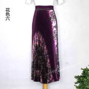 2020 women's spring and summer glossy print pleated skirt large size high waist temperament was thin large pleated skirt WA257