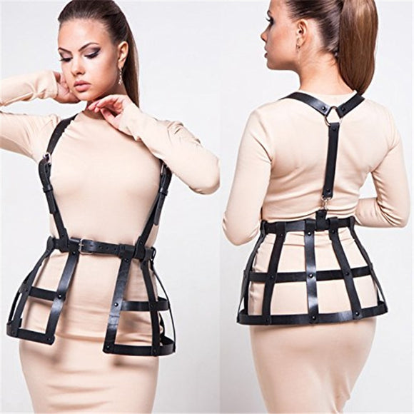 CETIRI Sexy Women' Hollow Out Punk Leather Adjustable Body Chest Harness Belt Weave Skirts Lingerie Party Costume Black