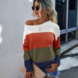 Women's 2020 Autumn Winter Stitching Contrast Color Comfortable Long-sleeved Sweater Ladies Round Neck Pullover Woman Sweaters