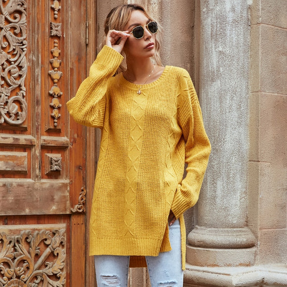 Women's Loose Knitted Sweaters Autumn 2020 New Side Split Long Yellow Jumpers O Neck Warm Pullovers for Ladies Fashion Clothes