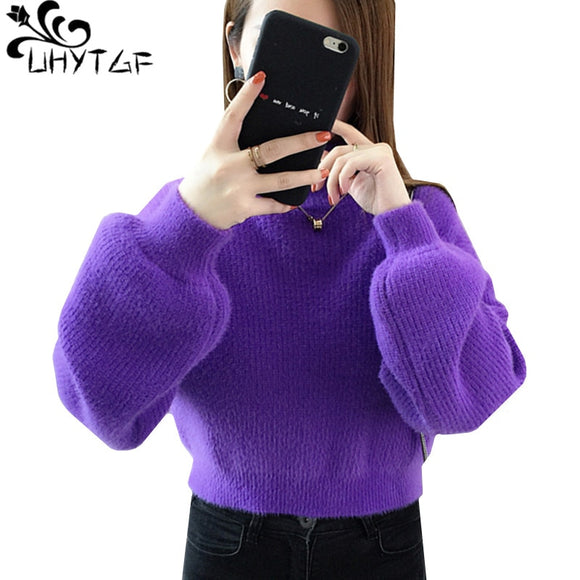 UHYTGF Women long sleeve sweaters Knit pullover turtleneck mink cashmere Winter sweater female High waist casual short tops 952