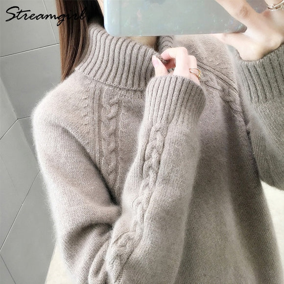 Turtleneck Winter Sweater Women Jumper Ladies Vintage Sweaters Knitted Pullover Women's Sweater Thick Warm Turtleneck Pull Femme