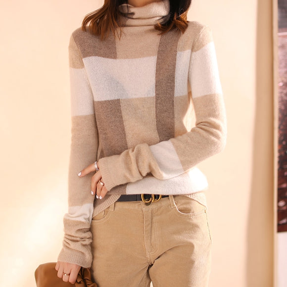 100% Wool Autumn  Winter New Color Matching Long-Sleeved Sweater Women's Pullover Cashmere Lazy Turtleneck Sweater Women Slim