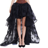 Women's Sexy Skirt Female Gothic Tulle Skirt Steampunk Maxi Lace Floral Ball Gown Vintage Shows Dance Party Corset Skirts