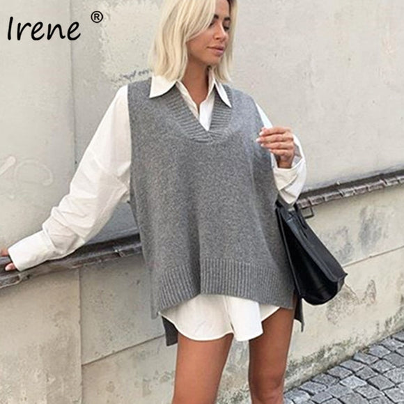 Irene Split Sleeveless Sweater Women's Vest V Neck Long Knitted Pullover Fall Casual Loose Jumper Winter Sweater Outwear