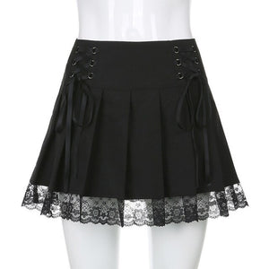 ALLNeon Egirl Fashion Lace Up Patchwork Lace Pleated Skirts Gothic Bandage Low Waist Marco Skirts Y2K Aesthetics Black Bottoms