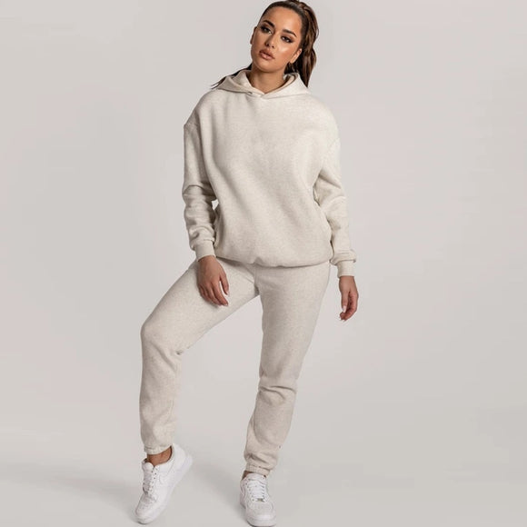 Winter Women's Velvet Tracksuit Female Sweaters Suit Sets  Jogging Pullover Hoodie Sportswear 2 Piece Set Outfit Sweatshirts