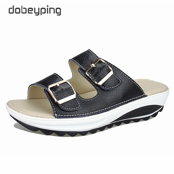 Casual Women's Sandals Genuine Leather Summer Flats Shoes Women Platform Wedges Female Slides Beach Flip Flops Plus Size 35-42