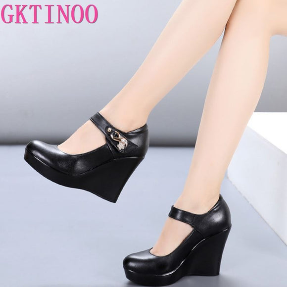 GKTINOO 2021 Spring Autumn Genuine Leather Women's Fashion High Heels Pumps Wedges Black Color Female Platform Shoes Large size