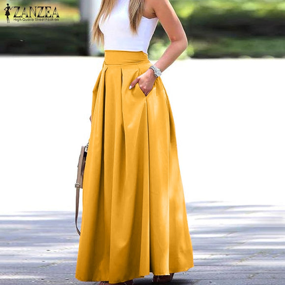 Elegant Women's Maxi Skirts ZANZEA Autumn Pleated Sundress Casual High Waist Long Vestidos Female Solid Faldas Saia Plus Size