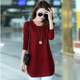 Autumn Winter Sweater Women Round Neck Pullover Knit Sweater Plus size Loose Long Sleeves Female Tops Bottom Shirt Sweater 3XL