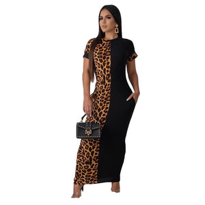 2021 spring new fashion leopard print casual dress party o-neck short sleeve women's T-shirt long skirt