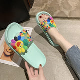 Summer Slippers Women's Cute Flower Flats Flip Flops Ladies Footwear Soft Bottom Shoes Female Print Floral Beach Casual Sandals