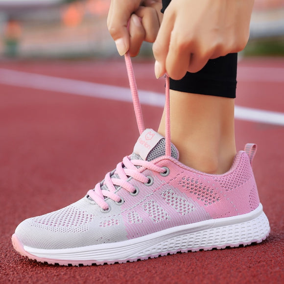 2021 Women Casual Shoes Fashion Breathable Walking Outdoor Mesh Lace Up Flat Sport Shoe Women's Sneakers Tenis Feminino