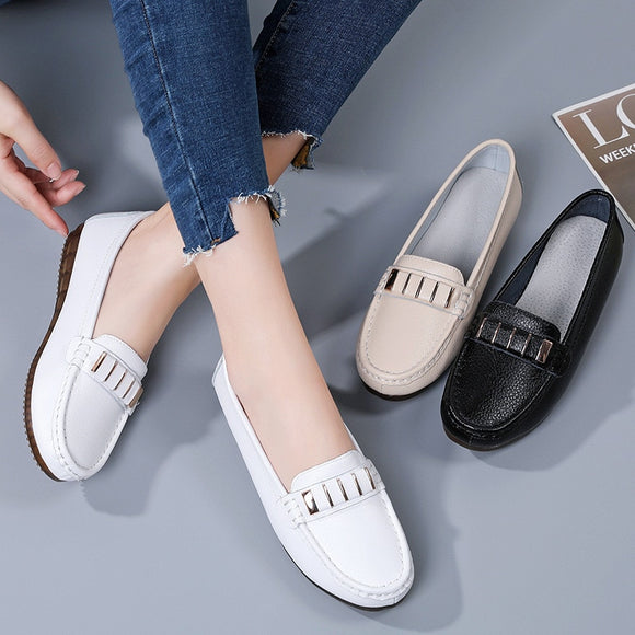 Autumn Flats Women Shoes Loafers Genuine Leather Women Flats Slip On Women's Loafers Female Moccasins Shoes Plus Size 35-40