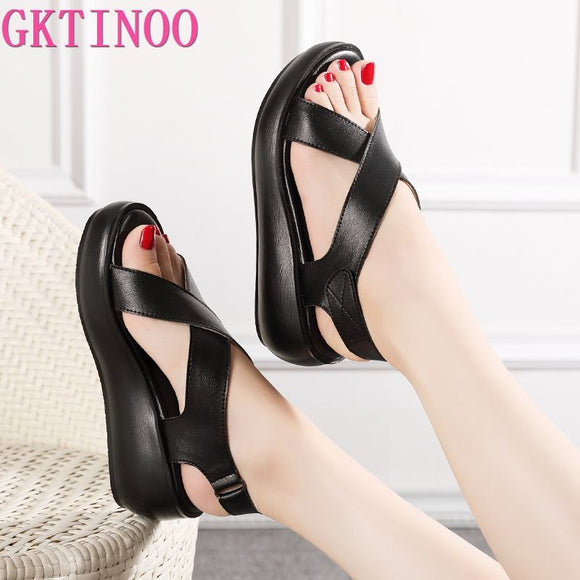 GKTINOO Women's Sandals Genuine Leather Platform Sandal 2021 Summer Gladiator High Heels Ladies Sandal Summer Shoes For Women