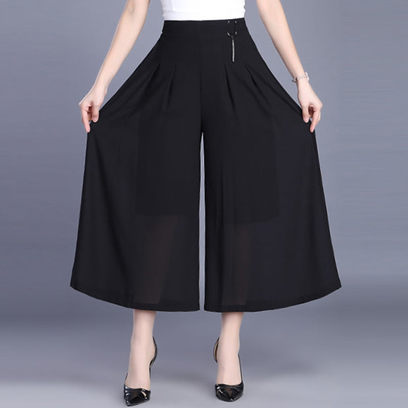 Large Size Women's Black Chiffon Pants Skirt 2019 Summer New High Waist Elastic Casual Pants Loose Wide Leg Pants 5XL 6XL R352