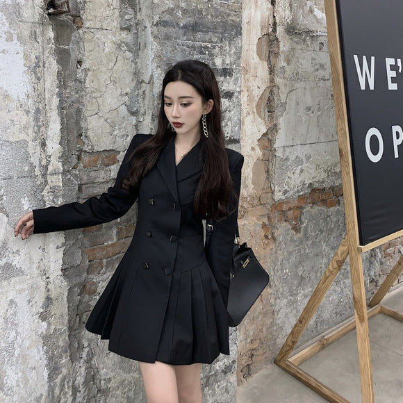 Black Dress Women's New Fall 2020 Slim Fit Waist Show Thin Pleated Suit Skirt Temperament Short Skirt Skirt Fashion