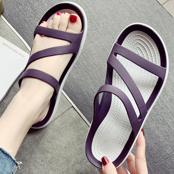 2021 New summer Women's slippers flat heel lacing open-toe Women's casual shoes beach outdoor jelly shoes non-slip