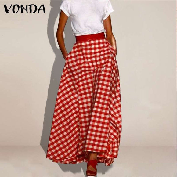 Plaid Checked Print Skirt 2021 Summer S-5XL Women's VONDA Skirts Big Swing A Line High Waist Jupe Party Maxi Faldas Saia Skirts