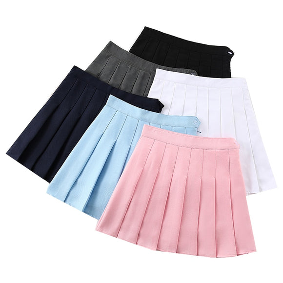 Solid Color Female Pleated Skirt High Waist A-Line Women's Mini Skirts Fashion Streetwear Ladies Girls Short Skirts Summer Skirt