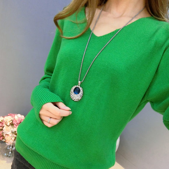 2019 New Fashion Women's Pullover Sweater Lady V-neck Batwing Sleeve Cashmere Wool Knitted Solid Color Wear Loose Size 4XL
