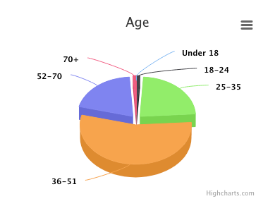 Pie chart of attendee ages