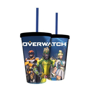Carnival cups featuring the team from Overwatch