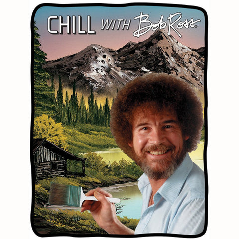 Chill with Bob Ross fleece blanket